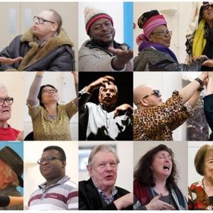 Porträttbilder av människor som sjunger och dansar